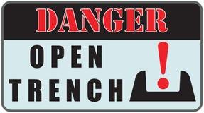 Danger Sign - Open Trench Stock Photo