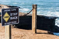 Danger Sign with Railing at Sunset Cliffs Royalty Free Stock Images