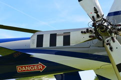 Danger sign on rear of helicopter. Stock Image