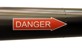 Danger Sign in red arrow Stock Photos