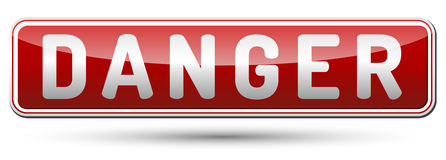 Danger sign. Red Danger sign with reflection and shadow on white background Stock Photo
