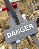 Danger Sign Restricting Access To A Building Site. Danger Sign Restricting Access To An Unsafe Building Site Stock Image