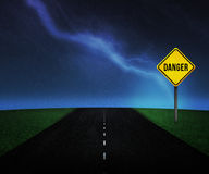Danger Sign on the Road Royalty Free Stock Images