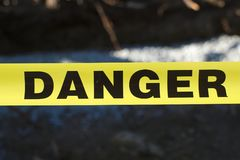 Danger access restricted forbidden yellow warning royalty free stock image