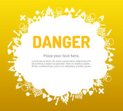 Danger sign set in cloud banner Royalty Free Stock Image