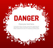 Danger sign set in cloud banner Royalty Free Stock Photo