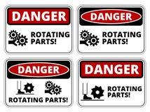 Danger sign. Set of danger Rotating Parts signs, four designs, a4 proportions, vector illustration vector illustration