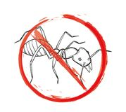 Danger sign with sketch of the ant Royalty Free Stock Image