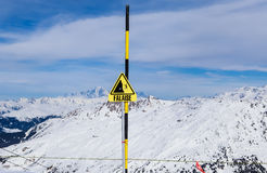 Danger sign. Ski resort  Val Thorens Stock Photo