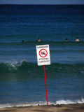 Danger sign swimming Royalty Free Stock Photography