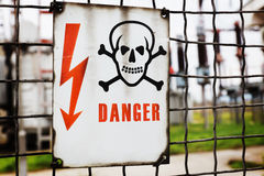 Danger sign with transformers in the background Royalty Free Stock Photography