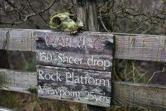 Danger. Sign warning of a sheer drop Royalty Free Stock Photography