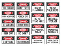 Danger signs set. Danger sign with warning text, danger label Royalty Free Stock Photo
