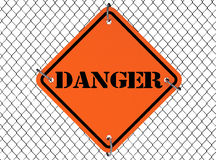 Danger Sign with Wired Fence Stock Images