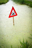 Danger signal in canal. At Netherlands royalty free stock images
