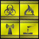Danger signals. Gray and yellow on a black background vector illustration