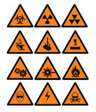 Danger signs. Hazard and safety vector signs Royalty Free Stock Images