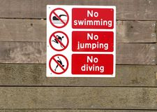 Danger Signs. And prohibition signs by the harbour Stock Photography