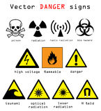Danger signs vector illustration. Warning and danger signs vector illustration isolated over white background Royalty Free Stock Photography