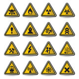 Danger signs. Vector illustration of danger signs on white background Stock Photos