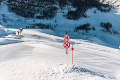 The danger sings on winter skiing resort Royalty Free Stock Images