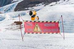 The danger sings on winter skiing resort Stock Photo