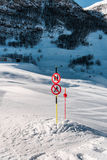 The danger sings on winter skiing resort Royalty Free Stock Image