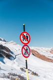 Danger sings on winter skiing resort Stock Photography