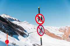 The danger sings on winter skiing resort Stock Image