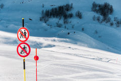 The danger sings on winter skiing resort Royalty Free Stock Photo