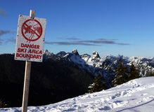 Danger ski area boundary Royalty Free Stock Image