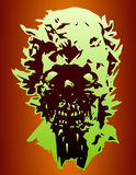 Danger skull of the angry zombie with a torn face. Vector illustration. Royalty Free Stock Photo