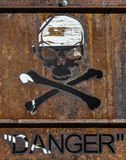 Danger. Skull and crossbones. Hard hat. Rust. Quotation marks. Sign Stock Photo
