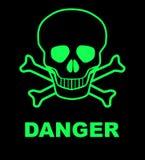 Danger. Skull and crossbones danger sign over a black background Stock Photos
