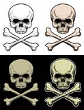 Danger Skull. Drawing Skull with 4 style color Stock Photos