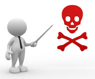 Danger skull sign. 3d people - man , person with danger skull sign Royalty Free Stock Image
