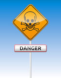 Danger skull traffic. Isolated  Skull, Danger traffic board with reflection Royalty Free Stock Photography