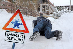 Danger Slipping - Accident danger in winter Stock Photo