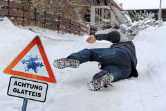 Danger Slipping - Accident danger in winter Royalty Free Stock Photo
