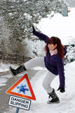 Danger Slipping - Accident danger in winter Royalty Free Stock Photo
