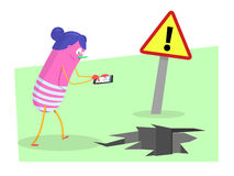 Danger with smartphones. Young woman distracted with the smartphone, about to fall into a hole. Vector Stock Photography