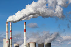 danger smoke from coal power plant chimney Royalty Free Stock Photo