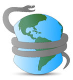 Danger snake and Earth 2013. Huge dangerous snake squeezes Earth stock illustration