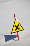Danger snow sign Stock Photos