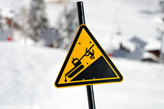 Danger! Snowcat sign on a Ski Area Royalty Free Stock Photography