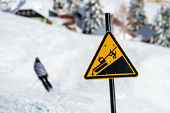 Danger! Snowcat sign on a Ski Area Royalty Free Stock Images