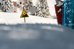 Danger! Snowcat sign on a Ski Area Royalty Free Stock Image