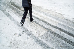 Danger snowy pedestrian crossroad Royalty Free Stock Photos