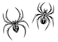 Danger spiders. Black danger spiders isolated on white background for tattoo. Vector illustration Royalty Free Stock Photos