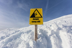 Danger steep cliff mountain sign Royalty Free Stock Photo